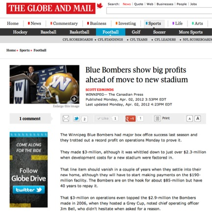 Winnipeg Blue Bombers in the Globe and Mail